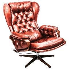 Swedish 1970s Armchair in Buffalo Leather and Jacaranda