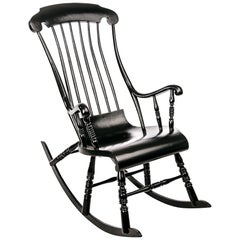 Antique Swedish Rocking Chair in Black Painted Pine