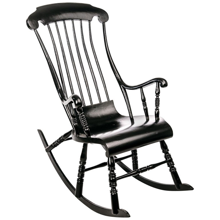 Antique Swedish Rocking Chair in Black Painted Pine For Sale - Antique Swedish Rocking Chair In Black Painted Pine At 1stdibs