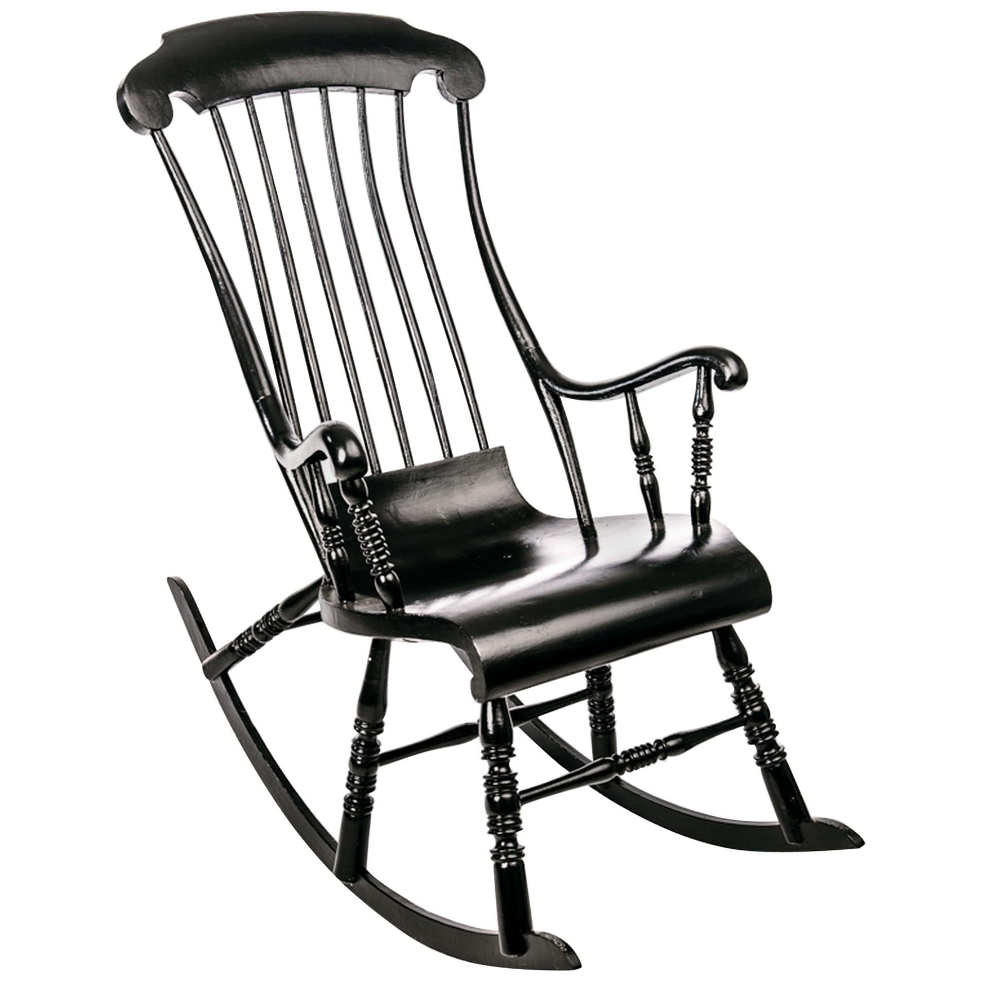 Ordinaire Antique Swedish Rocking Chair In Black Painted Pine For Sale