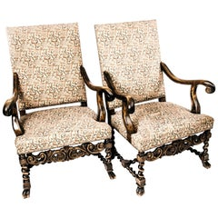 Swedish Baroque Armchairs Early 1900s of Birch