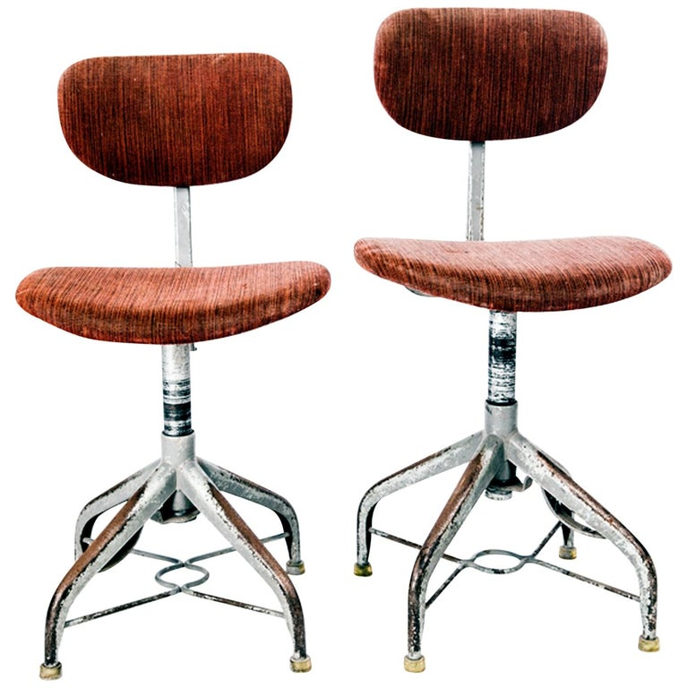 Pair of Swedish Industrial Chairs from 1950s