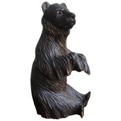 Hand-Carved Small Wooden Bear Sculpture with Lots of Character Made in Russia