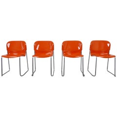 Set of Four Stackable Swing Chairs by Gerd Lange for Drabert, Germany, 1970s