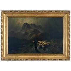 Original Signed Antique Oil Painting The Sheep Herder