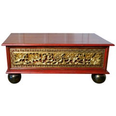 Oriental Look Low Coffee Table with Drawer Storage