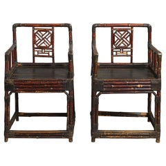 19th Century Pair of George III Chinese Export Lacquered Bamboo Armchairs