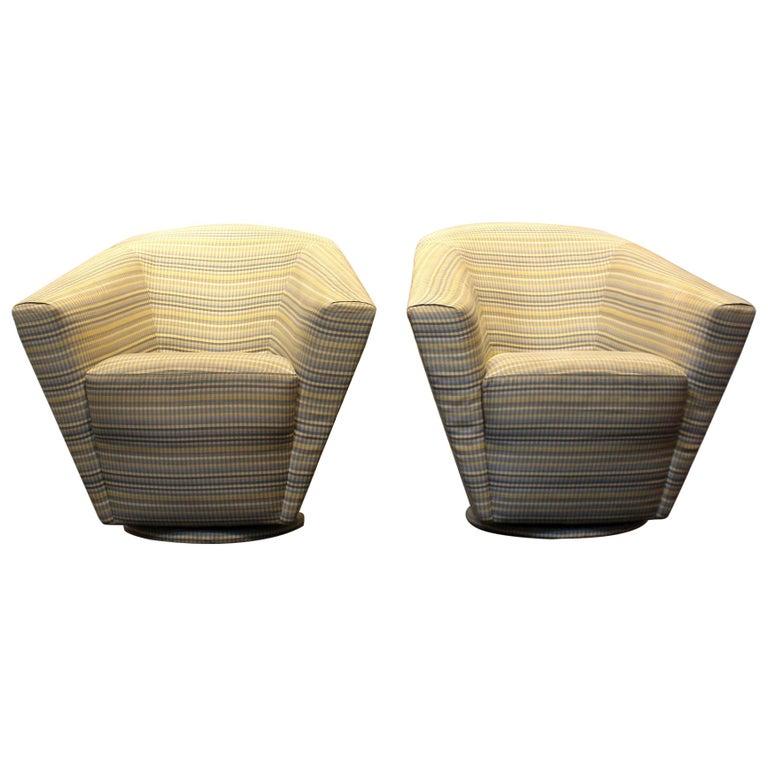 Dramatic Sculptural 1980s Swivel Club Chairs