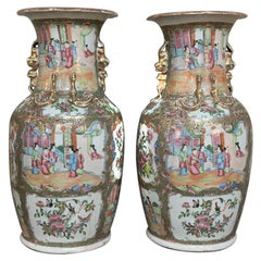 Pair of 19th Century Hand-Painted Cantonese Rose Medallion Porcelain Vases