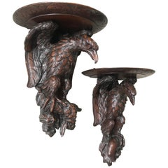 Antique & Amazing Pair of Carved Oak Wall Brackets or Consoles, Eagle Sculptures