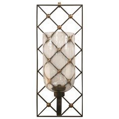 Pair of Modern Neoclassical Hurricane Candle Sconces in the Style of Royere
