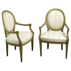 Pair of Syrie Maugham Style 20th Century Green Painted Open Armchairs