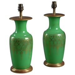 Pair of 19th Century Opaline Glass Vase Lamps