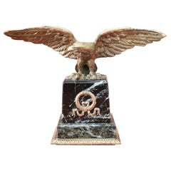 20th Century French Eagle in Bronze on a Marble Base, 1940s