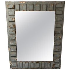 Eye-Catching Rustic Grey Blue Painted Reclaimed Wood Mirror