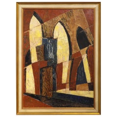 Midcentury Abstract Church Interior by Hugo Mohl, Dated 1968