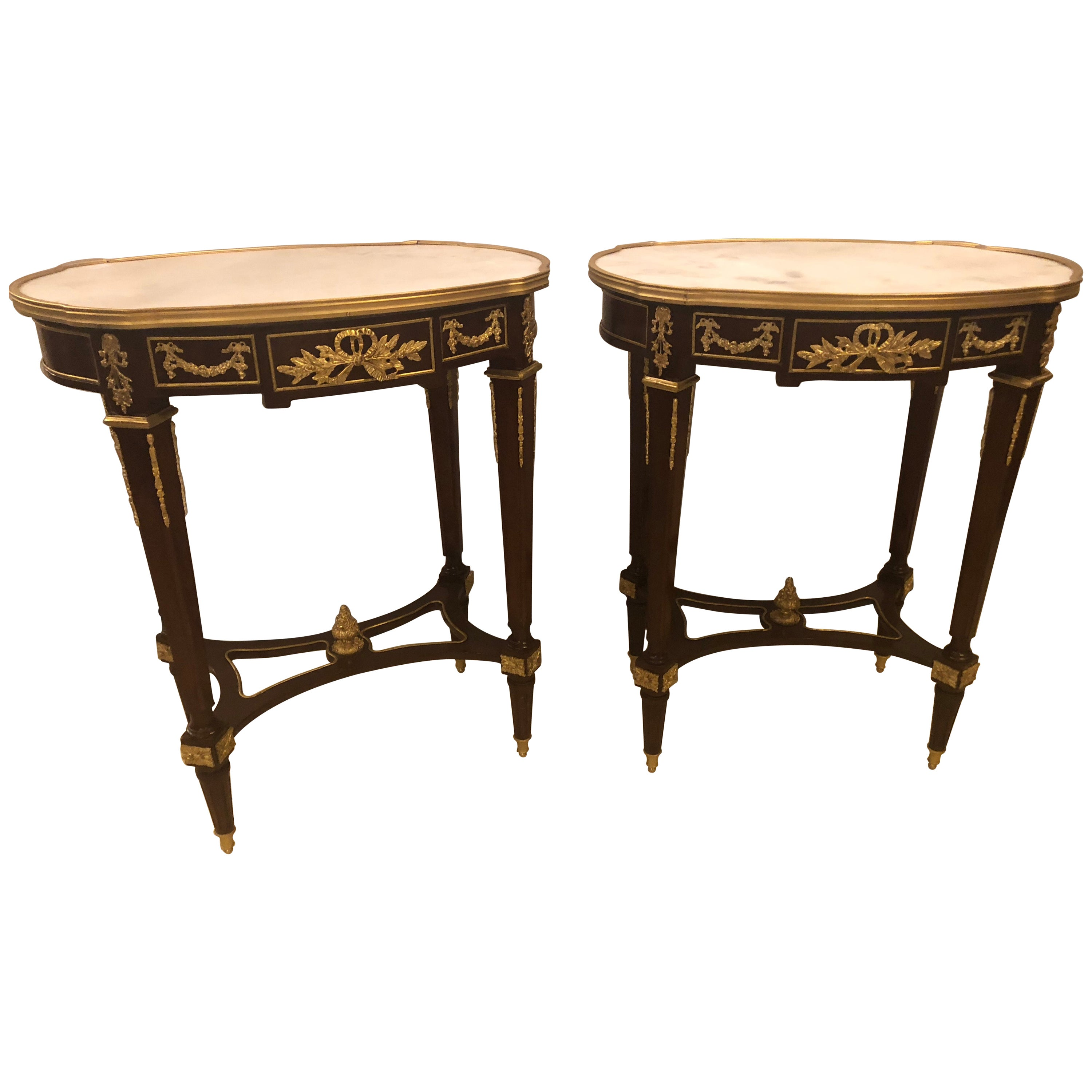 Louis XVI Style Bronze Framed Marble-Top End Lamp Tables with Bronze Mounts Pair