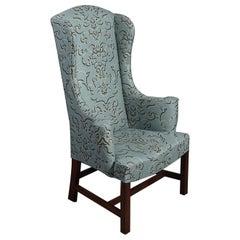 George III Style Teal High Wingback Armchair