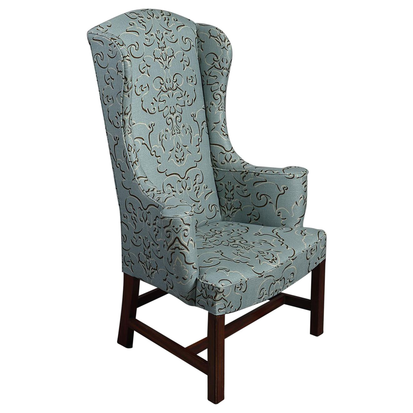 George III Style Teal High Wingback Armchair For Sale