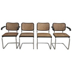 Set of Four 1960s Gavina Hand Caned Cesca Chairs by Marcel Breuer
