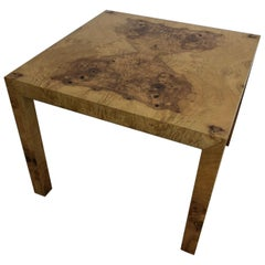 1970s Olivewood Burl Square Dining Table by Milo Baughman