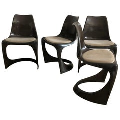 Set of Four Plastic Danish Stacking Chairs by Steen Ostergaard Cado, 1960s