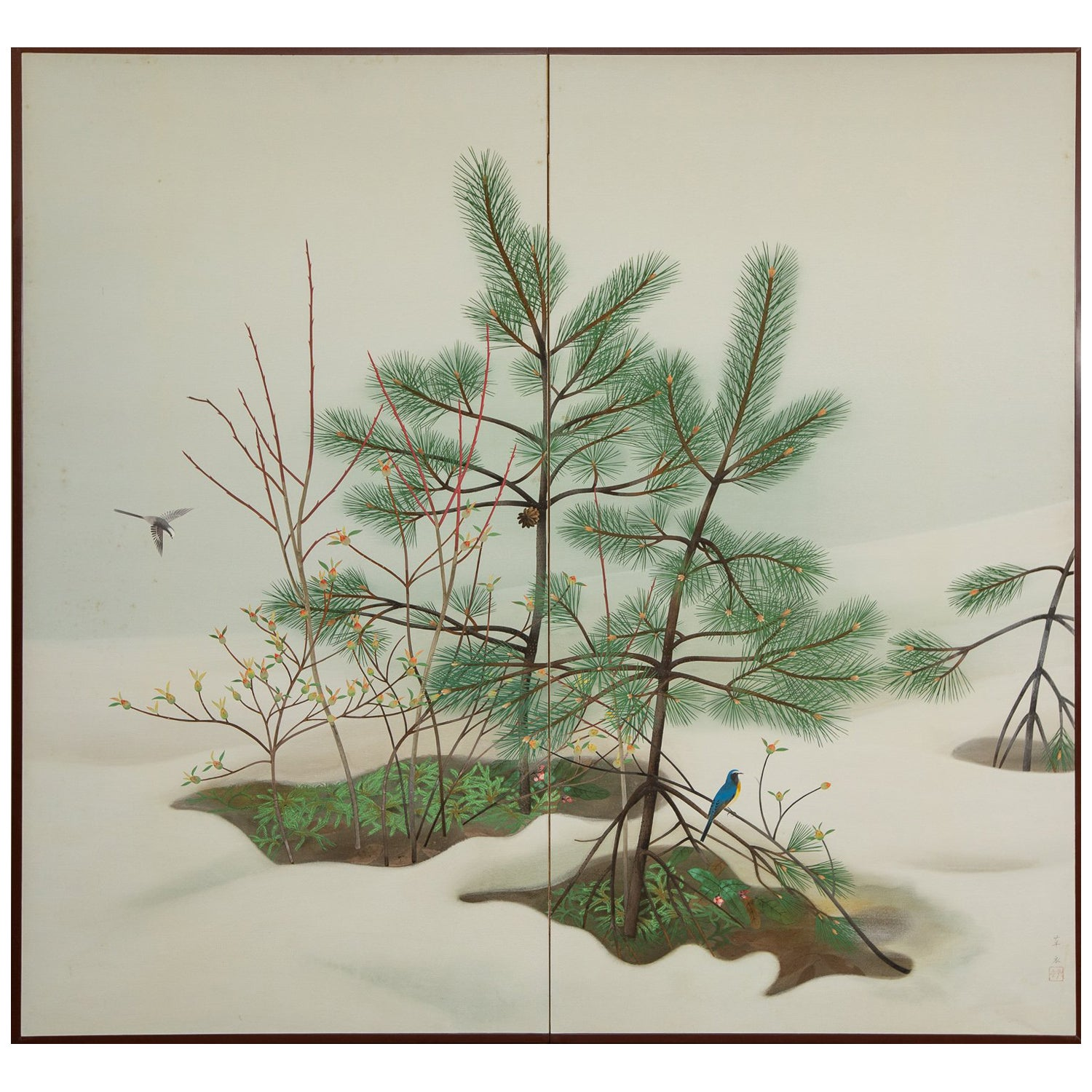 Japanese Two-Panel Screen, Young Pine in Snow