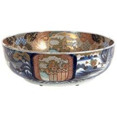 Imari-Style Japanese Bowl with Gold Detailing