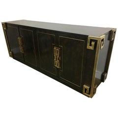 Bernhard Rohne Mastercraft Burled Carpathian Elm and Brass Buffet Server Bar