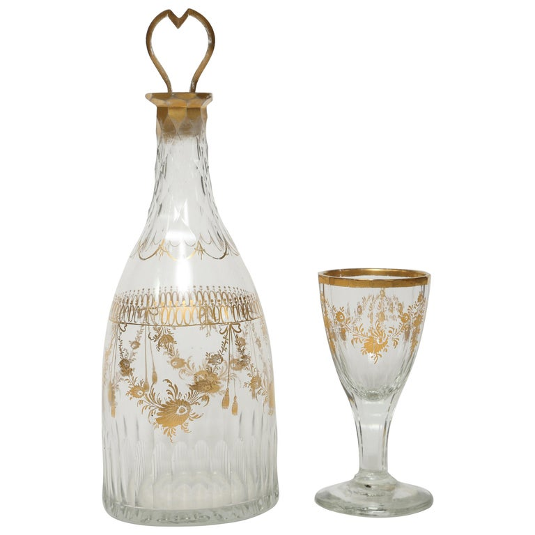 18th Century French Gilt Decanter with Glass