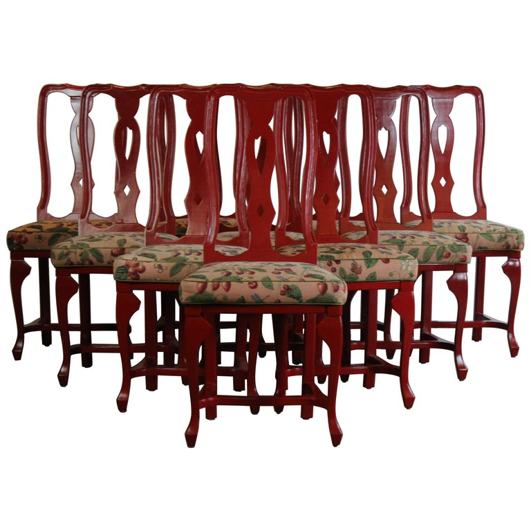 Red Dining Chairs Set of Ten