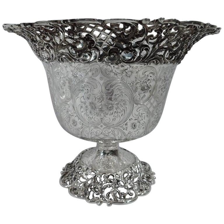 Antique American Fancy Sterling Silver Pierced Centrepiece Urn Bowl