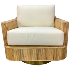 Pair of Milo Baughman Style Cased Bamboo Swivel Chairs