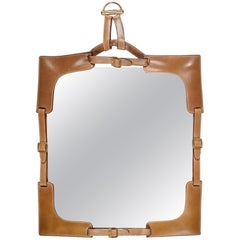 1970s Gucci Leather Framed Mirror
