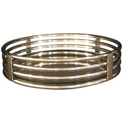 Art Deco Style Polished Chrome Round Gallery Tray or Plateau