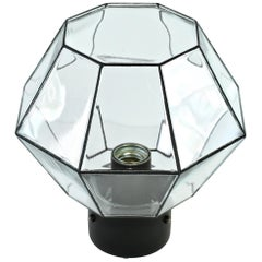 Limburg Pair of Geometric Black and Clear Glass Flush Mount Lights, circa 1970s