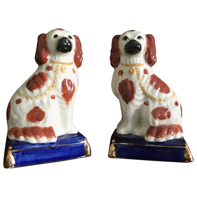 Pair of Staffordshire Dogs, with Bright Blue Base, Late 19th-Early 20th Century