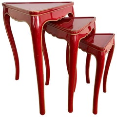 Set of Three Red Lacquer Nesting Tables Stacking Serving Side End