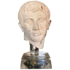 Italian Stone Bust of Augustus Caesar, on Acrylic Base