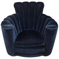 Art Deco Scalloped Upholstered Blue Velvet Large Club Chair Armchair