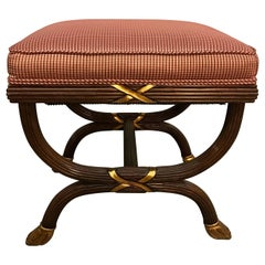 Pair of Neoclassical William Switzer X-Base Benches Ottomans