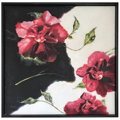 Original Large Red Floral Oil Painting Signed by Tom Ryan
