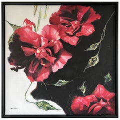 Large Red Floral Original Oil Painting Signed by Tom Ryan