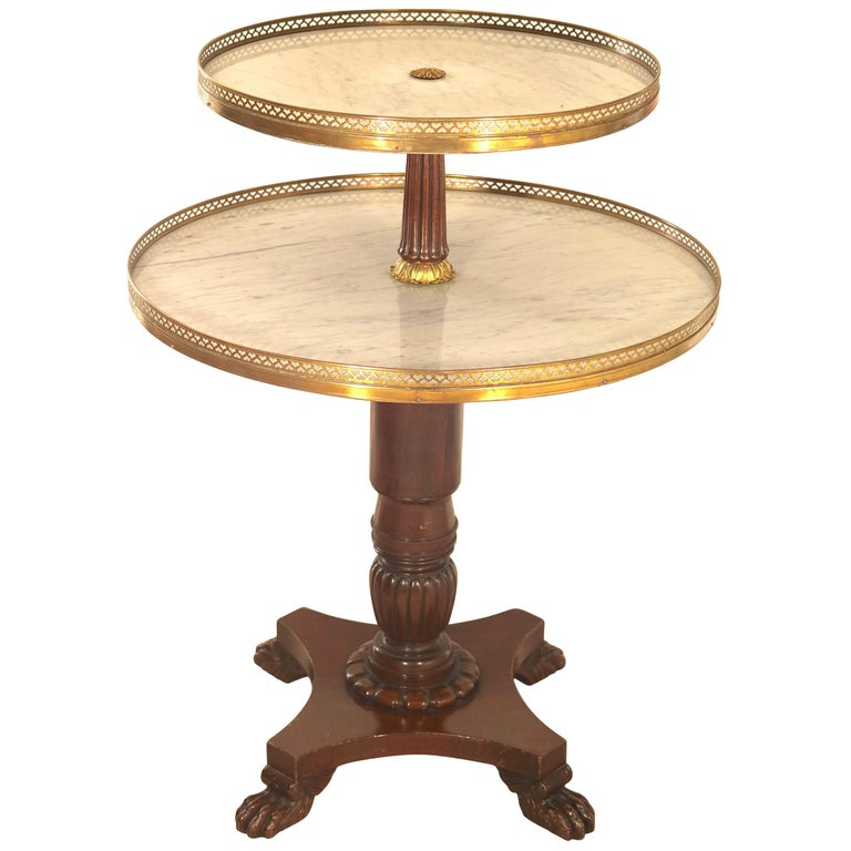 Gilt Bronze Swiveling Dessert Table Dumb Waiter -19th Century with Provenance For Sale