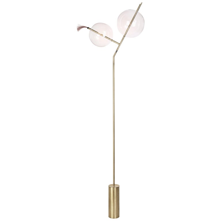 Mickey Minimal Sculptural Floor Lamp Dimmable Touch Sensor Brushed Brass, Glass
