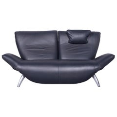 Leolux Designer Sofa Relax Leather Grey Anthracite Two-Seat Function Electric