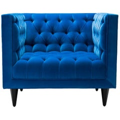 Contemporary Tux Chair in Cotton Teal Blue Velvet with Walnut or Oak Legs
