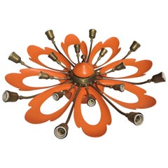 Italian Orange Ceiling Light in the Manner of Angelo Lelli, Arredoluce, 1950s
