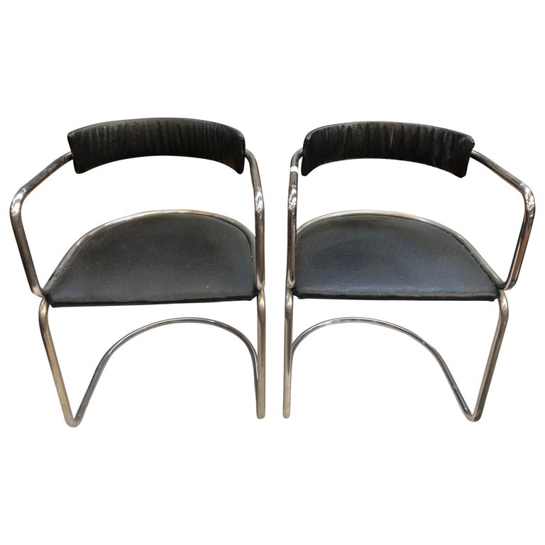 Two Mid-Century Modern Chrome Black Leather Skai Chairs