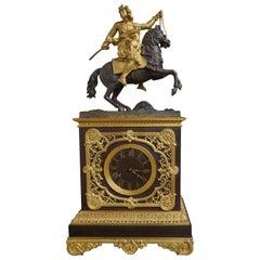 Gilt Bronze & Brass Mantel Clock with Horse & Mongolian Warrior Sculpture